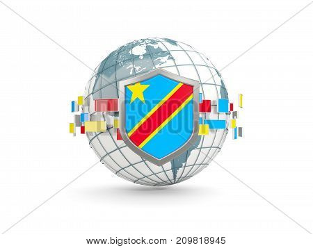 Globe And Shield With Flag Of Democratic Republic Of The Congo Isolated On White