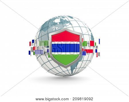 Globe And Shield With Flag Of Gambia Isolated On White