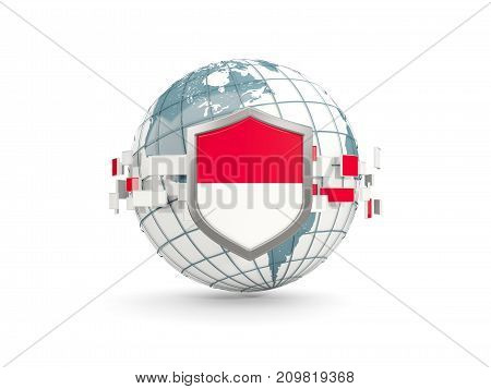 Globe And Shield With Flag Of Indonesia Isolated On White