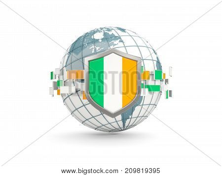 Globe And Shield With Flag Of Ireland Isolated On White