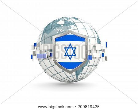 Globe And Shield With Flag Of Israel Isolated On White
