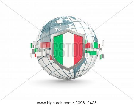 Globe And Shield With Flag Of Italy Isolated On White