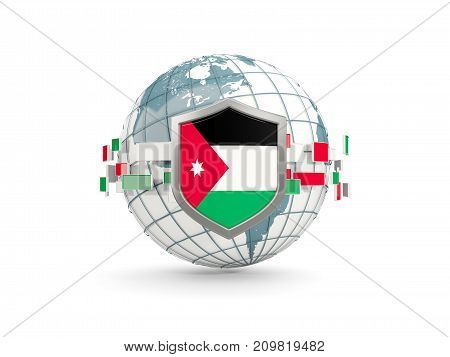Globe And Shield With Flag Of Jordan Isolated On White