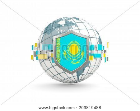 Globe And Shield With Flag Of Kazakhstan Isolated On White