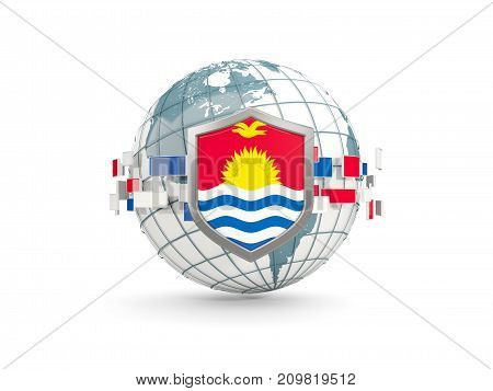 Globe And Shield With Flag Of Kiribati Isolated On White