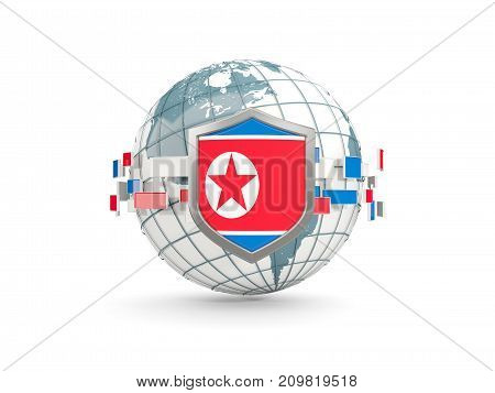 Globe And Shield With Flag Of Korea North Isolated On White