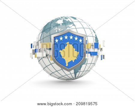 Globe And Shield With Flag Of Kosovo Isolated On White