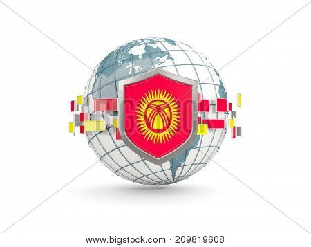 Globe And Shield With Flag Of Kyrgyzstan Isolated On White