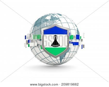 Globe And Shield With Flag Of Lesotho Isolated On White