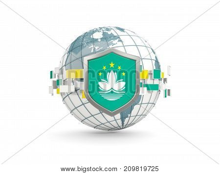 Globe And Shield With Flag Of Macao Isolated On White