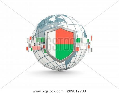 Globe And Shield With Flag Of Madagascar Isolated On White