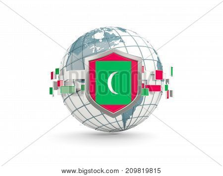 Globe And Shield With Flag Of Maldives Isolated On White