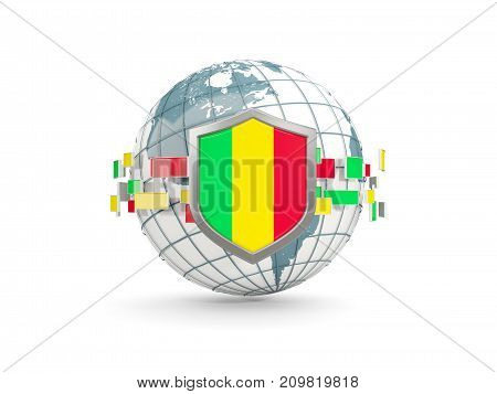 Globe And Shield With Flag Of Mali Isolated On White