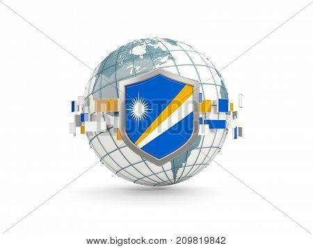 Globe And Shield With Flag Of Marshall Islands Isolated On White