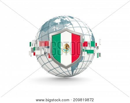 Globe And Shield With Flag Of Mexico Isolated On White
