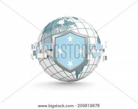Globe And Shield With Flag Of Micronesia Isolated On White