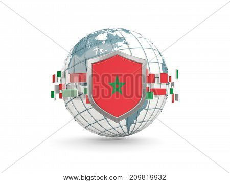 Globe And Shield With Flag Of Morocco Isolated On White
