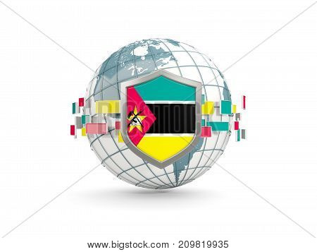 Globe And Shield With Flag Of Mozambique Isolated On White