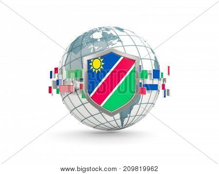 Globe And Shield With Flag Of Namibia Isolated On White