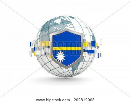 Globe And Shield With Flag Of Nauru Isolated On White