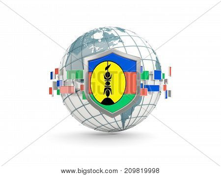 Globe And Shield With Flag Of New Caledonia Isolated On White