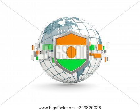 Globe And Shield With Flag Of Niger Isolated On White