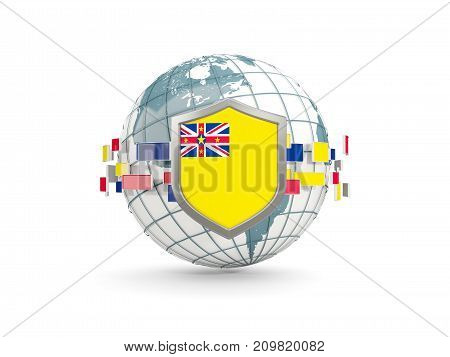 Globe And Shield With Flag Of Niue Isolated On White