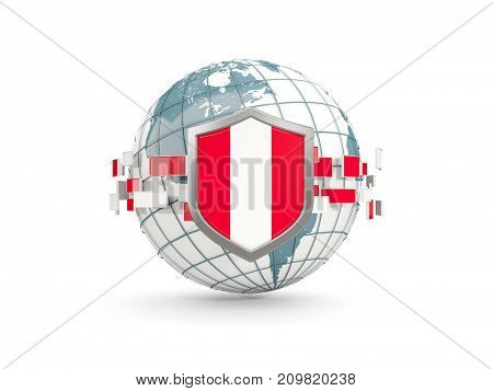 Globe And Shield With Flag Of Peru Isolated On White