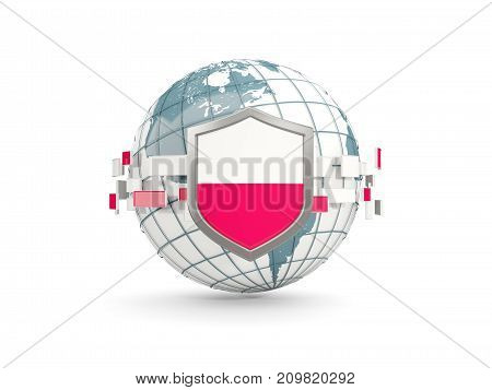 Globe And Shield With Flag Of Poland Isolated On White