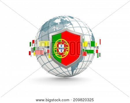 Globe And Shield With Flag Of Portugal Isolated On White