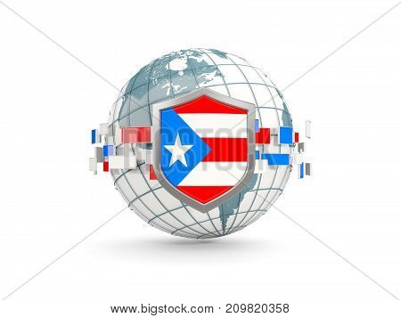 Globe And Shield With Flag Of Puerto Rico Isolated On White