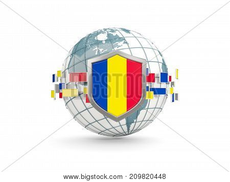 Globe And Shield With Flag Of Romania Isolated On White