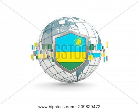 Globe And Shield With Flag Of Rwanda Isolated On White