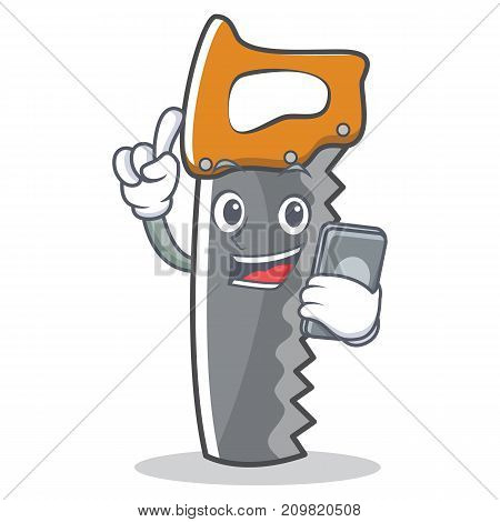 With phone hand saw character cartoon vector illustration