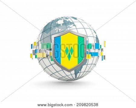 Globe And Shield With Flag Of Saint Vincent And The Grenadines Isolated On White