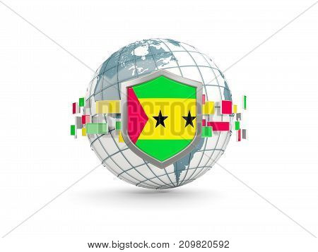 Globe And Shield With Flag Of Sao Tome And Principe Isolated On White