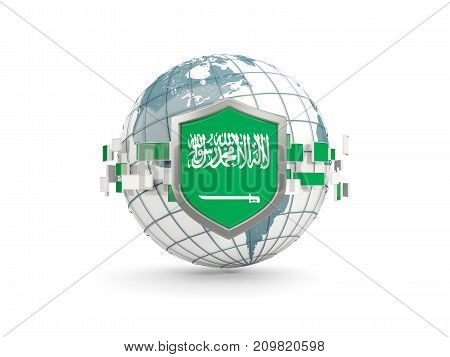Globe And Shield With Flag Of Saudi Arabia Isolated On White