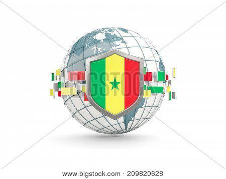 Globe And Shield With Flag Of Senegal Isolated On White