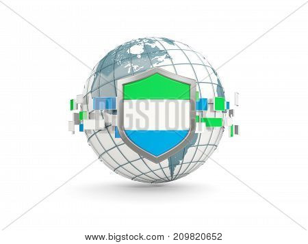 Globe And Shield With Flag Of Sierra Leone Isolated On White