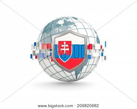 Globe And Shield With Flag Of Slovakia Isolated On White