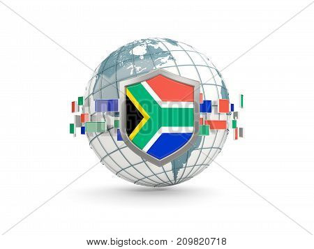 Globe And Shield With Flag Of South Africa Isolated On White
