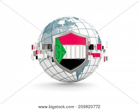 Globe And Shield With Flag Of Sudan Isolated On White