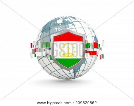 Globe And Shield With Flag Of Tajikistan Isolated On White