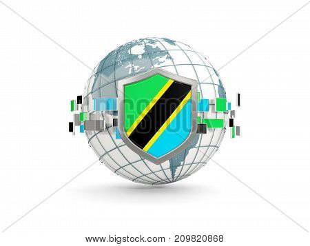 Globe And Shield With Flag Of Tanzania Isolated On White