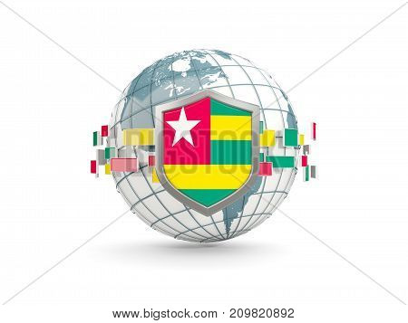 Globe And Shield With Flag Of Togo Isolated On White