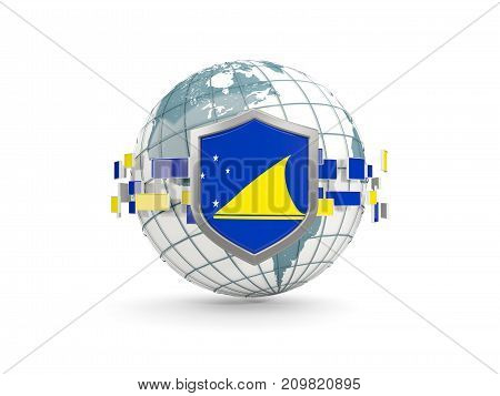 Globe And Shield With Flag Of Tokelau Isolated On White