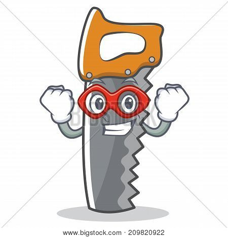 Super hero hand saw character cartoon vector illustration