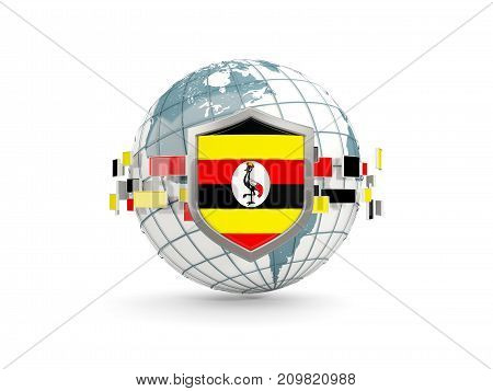 Globe And Shield With Flag Of Uganda Isolated On White