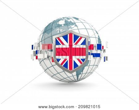 Globe And Shield With Flag Of United Kingdom Isolated On White