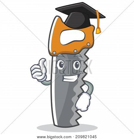 Graduation hand saw character cartoon vector illustration